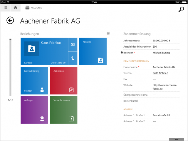 CRM 2013 iPad App Screenshot 1