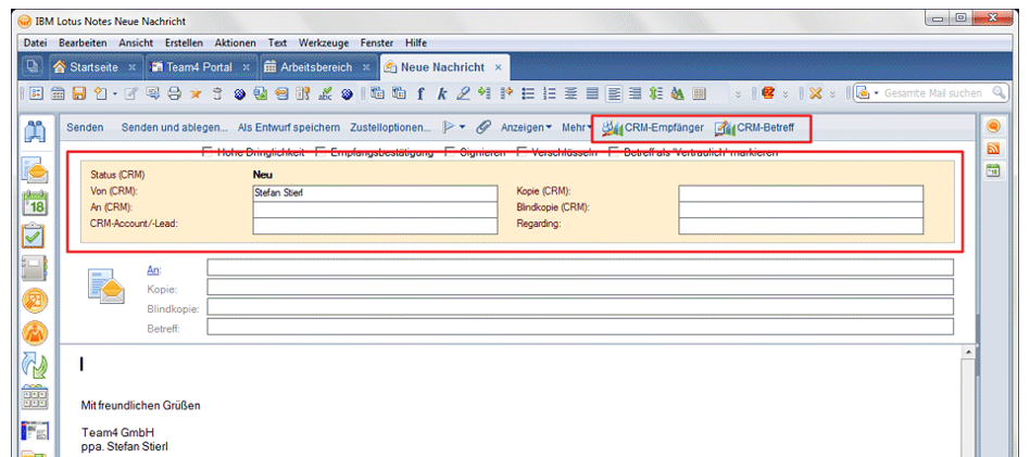 Mails an CRM-Kontakte adressieren