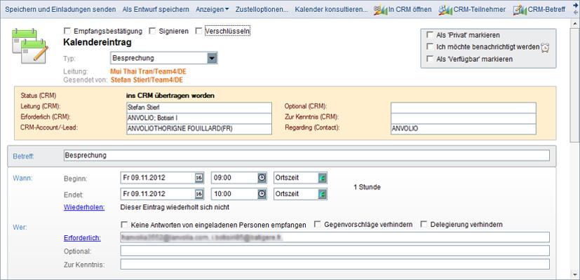 Synchronisation von Notes-Terminen ins Microsoft CRM