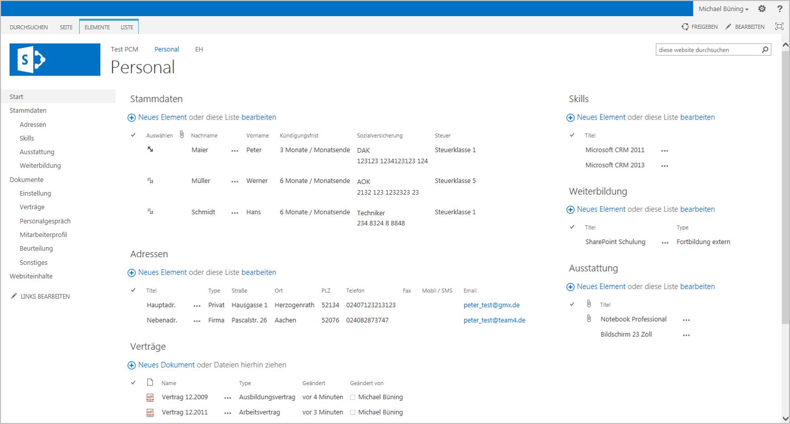 Team4 SharePoint App Personal - Übersicht zu einem Mitarbeiter