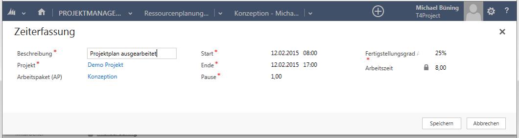 Zeiterfassung zu Projekt/Arbeitspaket optional mit Fertigstellungsgrad
