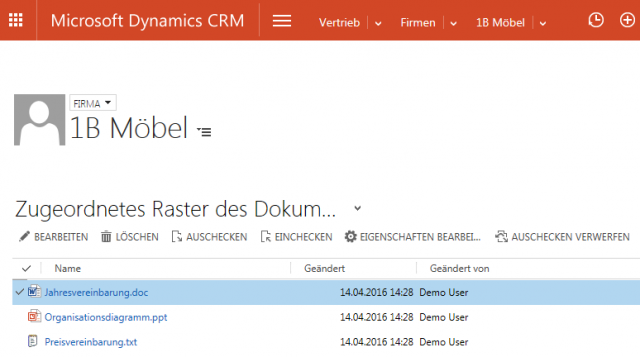 crm 2016 SharePoint Dokumente zu Firma in Browser