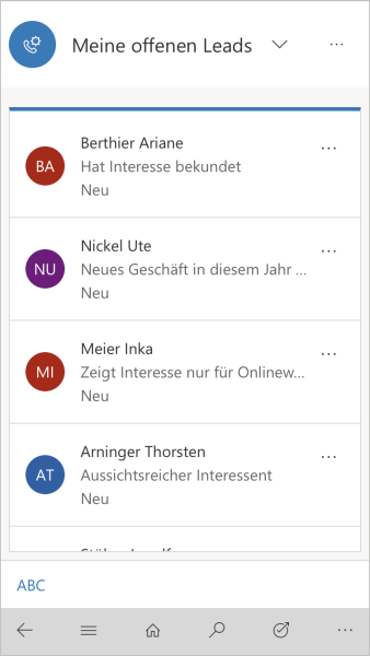 Dynamics 365 Mobile Ansicht