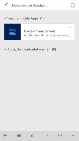 Dynamics 365 Mobile App Auswahl