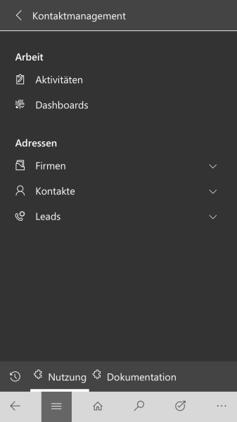 Dynamics 365 Mobile Navigation