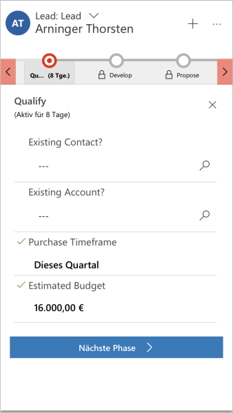 Dynamics 365 Mobile Prozessfluss