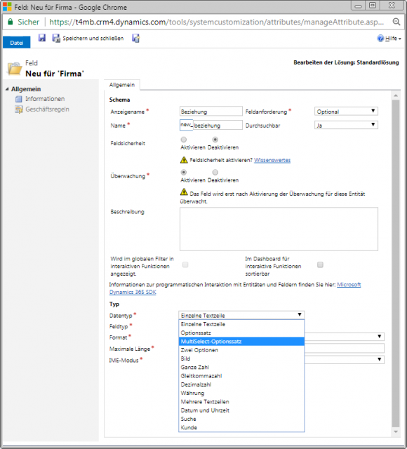 Dynamics 365 Multiselect Optionssatz Konfiguration
