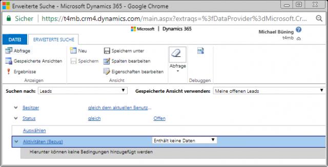 Dynamics 365 Suche auf enthaelt keine Daten