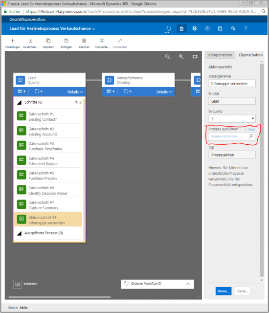 Dynamics 365 Unified Interface Geschaeftsprozess Aktionsschritt Konfig