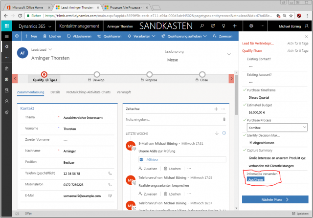 Dynamics 365 Unified Interface Geschaeftsprozess Aktionsschritt UI
