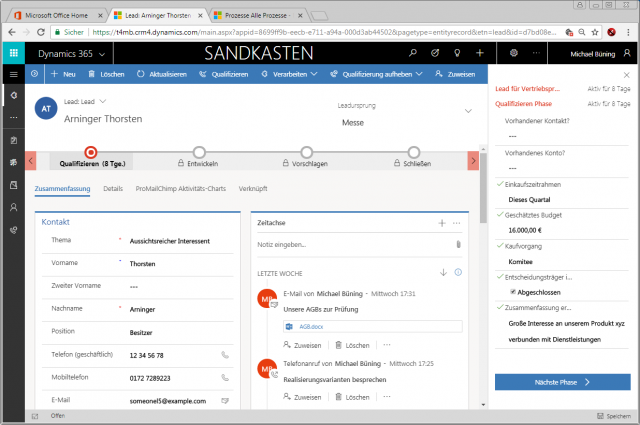 Dynamics 365 Unified Interface Geschaeftsprozess docked