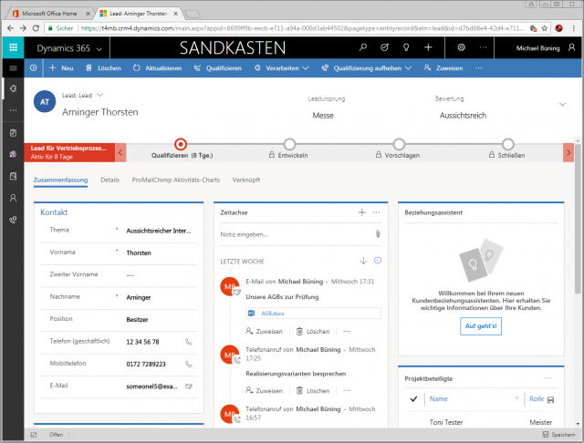 Dynamics 365 Unified Interface Maske