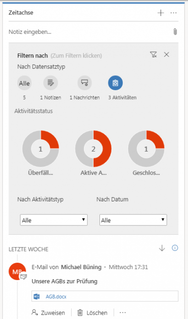 Dynamics 365 Unified Interface Zeitachse Filter