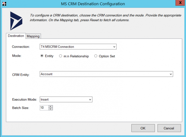 Team4 Dynamics 365 CRM SSIS Connector Screenshot Destination